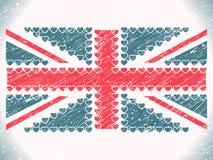 Флаг grunge сердец Юниона Джек Стоковые Фотографии RF