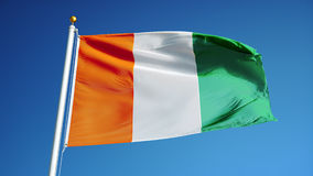 Флаг Ivoire Коута в замедленном движении плавно закрепил петлей с альфой сток-видео