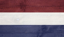 Флаг Netherland на деревянных досках с ногтями Стоковая Фотография