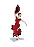 Фламенко танцев молодой женщины Стоковое Фото