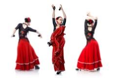 Фламенко танцев молодой женщины Стоковое фото RF