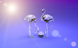 фламинго 3d сделанный из покрашенного стекла Высокое разрешение 3D представляет Стоковое Фото