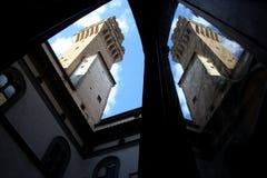 Флоренс, здание муниципалитет, башня vecchio palazzo Стоковая Фотография RF