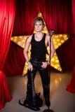 флористическая акварель рок-звезды орнамента микрофона grunge Стоковые Фото