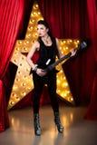 флористическая акварель рок-звезды орнамента микрофона grunge Стоковые Изображения