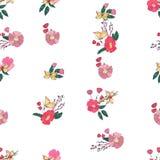 Флористическая безшовная винтажная картина Wildflowers Стоковое Изображение