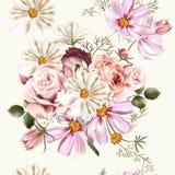 Флористическая безшовная картина вектора с цветками в стиле акварели Стоковое Изображение RF