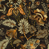 Флористическая безшовная картина, влияние текстуры индийский орнамент Цветки и Пейсли вектора декоративные Этнический тип Констру Стоковое Изображение