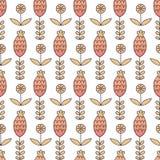Флористическая безшовная картина в стиле шаржа. Стоковое Изображение RF