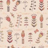 Флористическая безшовная картина в стиле шаржа Стоковые Изображения