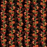 Флористическая безшовная картина контраста с красными freesias цветет на черной предпосылке Стоковое Фото
