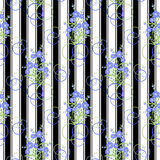 Флористическая безшовная картина, милый шарж цветет белая предпосылка Стоковое фото RF