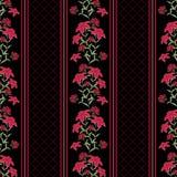 Флористическая безшовная картина, милый шарж цветет черная предпосылка Стоковое Фото