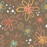 Флористическая безшовная картина на коричневой предпосылке Стоковые Фотографии RF
