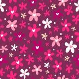 Флористическая безшовная картина на фиолетовой предпосылке Стоковое Изображение