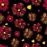 Флористическая безшовная картина на черной предпосылке также вектор иллюстрации притяжки corel Стоковая Фотография RF