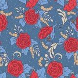 Флористическая безшовная картина, предпосылка с винтажным стилем цветет Стоковое Изображение RF
