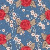 Флористическая безшовная картина, предпосылка с винтажным стилем цветет Стоковые Изображения RF