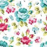 Флористическая безшовная картина с голубыми розами Стоковое Фото