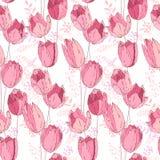 Флористическая безшовная картина сделанная розовых тюльпанов Стоковые Изображения