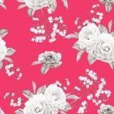 Флористическая безшовная картина сделанная роз, ветвей на красном цвете Стоковое Изображение