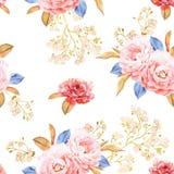 Флористическая безшовная картина сделанная роз, синь выходит Стоковые Фото