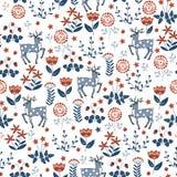 Флористическая безшовная картина с оленями Стоковое Изображение