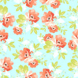 Флористическая безшовная картина с розовыми цветками Стоковая Фотография