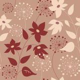 Флористическая безшовная картина с стильными цветками и одуванчиками иллюстрация вектора