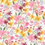 Флористическая безшовная картина с тюльпанами и daffodils Стоковые Изображения RF