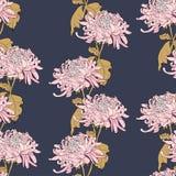 Флористическая безшовная картина с хризантемой на синем backgrou Стоковые Фото