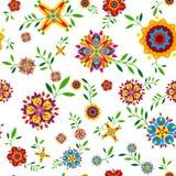 Флористическая безшовная картина с цветками и листьями Стоковое Изображение RF