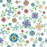 Флористическая безшовная картина с цветками и листьями Стоковая Фотография