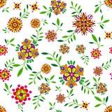Флористическая безшовная картина с цветками и листьями Стоковая Фотография RF