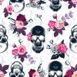 Флористическая безшовная картина с monochrome человеческими черепами Стоковое Изображение