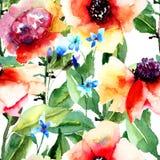 Флористическая безшовная картина иллюстрация вектора