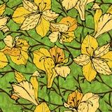 Флористическая безшовная предпосылка с желтыми цветками Стоковые Фотографии RF