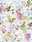 Флористическая винтажная безшовная предпосылка акварели Стоковая Фотография