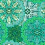 Флористическая восточная безшовная картина сделанная много мандал предпосылка красит зеленый цвет Иллюстрация вектора в восточном Стоковые Фото