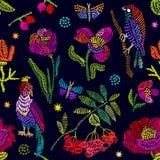 Флористическая вышивка с рябиной иллюстрация вектора