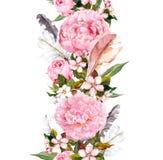 Флористическая граница с розовыми пер цветков, вишневого цвета и птицы пиона Винтажная безшовная нашивка в стиле boho Стоковые Изображения
