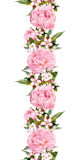Флористическая граница с розовым цветком Безшовная винтажная прокладка акварель Стоковые Фотографии RF