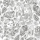 Флористическая декоративная monochrome безшовная картина Взрослый antistress Стоковые Фотографии RF