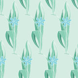Флористическая зеленая безшовная картина в модернистском стиле Стоковые Фотографии RF