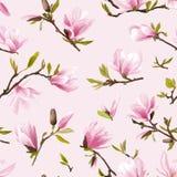 флористическая картина безшовная Предпосылка цветков и листьев магнолии Стоковое Изображение