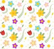 флористическая картина безшовная Цветки повторяя текстуру Ботаническая бесконечная предпосылка также вектор иллюстрации притяжки  бесплатная иллюстрация