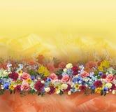 Флористическая картина на безшовной ткани вектор изображения цветка букета яркий Ткань Стоковое Изображение RF
