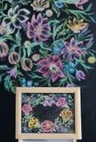 Флористическая картина на стене мела Стоковые Фотографии RF