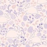 Флористическая картина праздника Зайчик пасхи, предпосылка яичек безшовная Стоковые Изображения