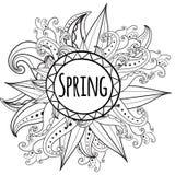 Флористическая карточка вектора с цветками и рамкой иллюстрация штока